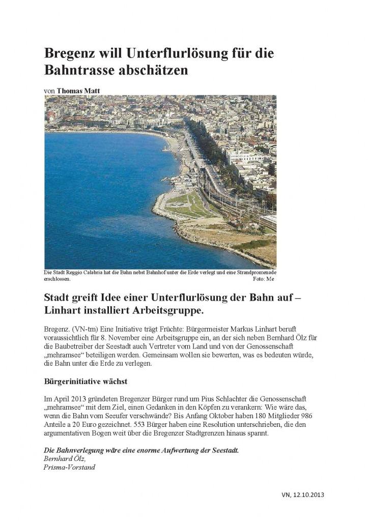 Bregenz will Unterflurlösung für Bahntrasse abschätzen,  VN 12.10.2013