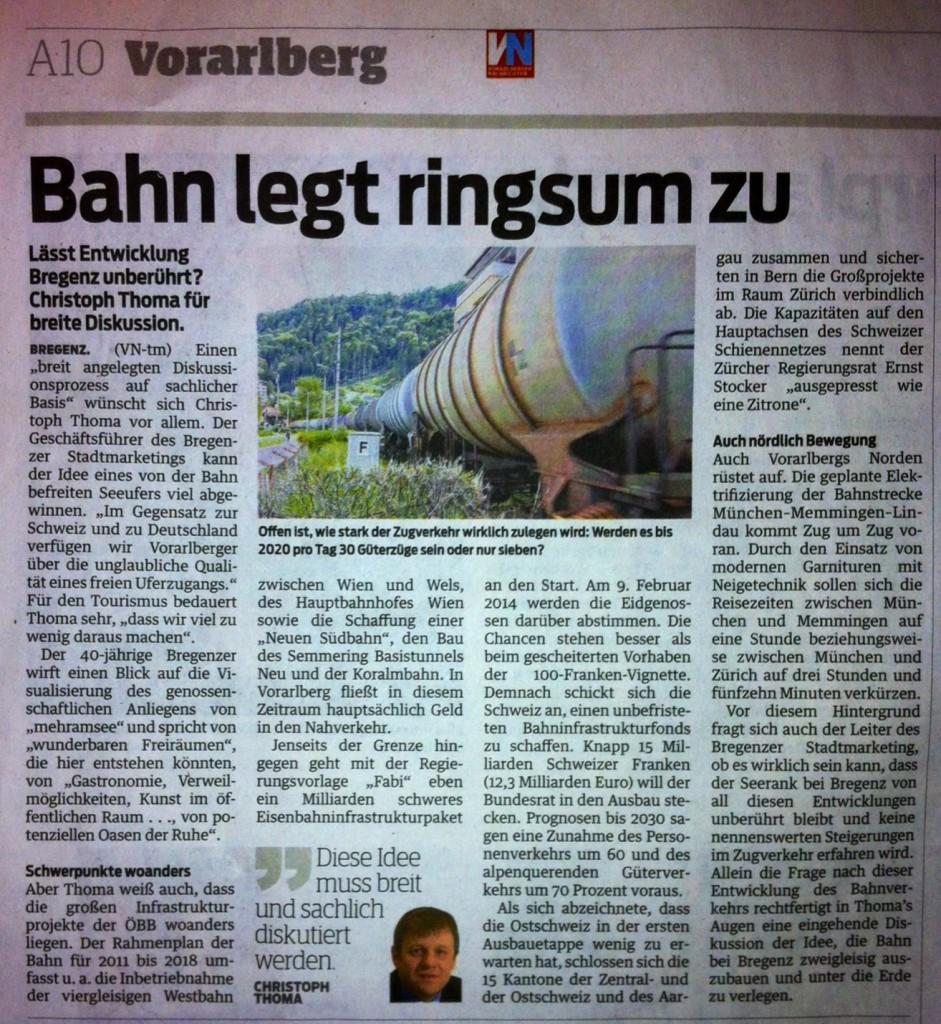 Bahn legt ringsum zu, VN 14.12.2013