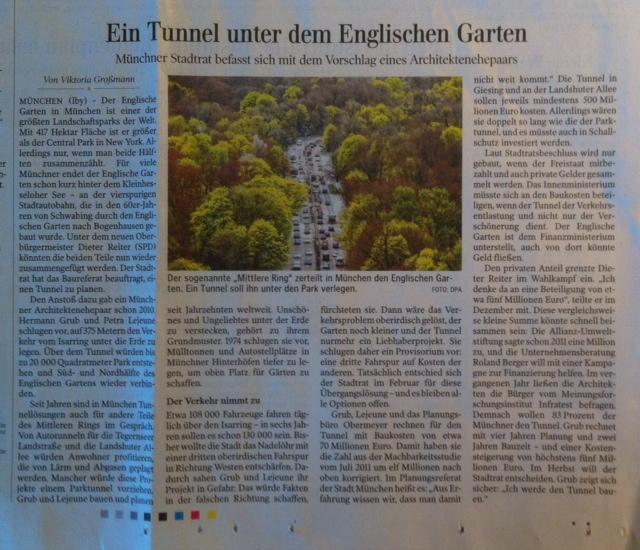 Ein Tunnel unter dem Englischen Garten, 8.4.2014 Schwäbische Zeitung
